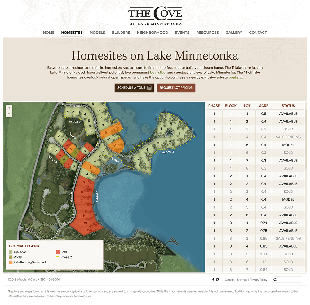Design of homesites web page