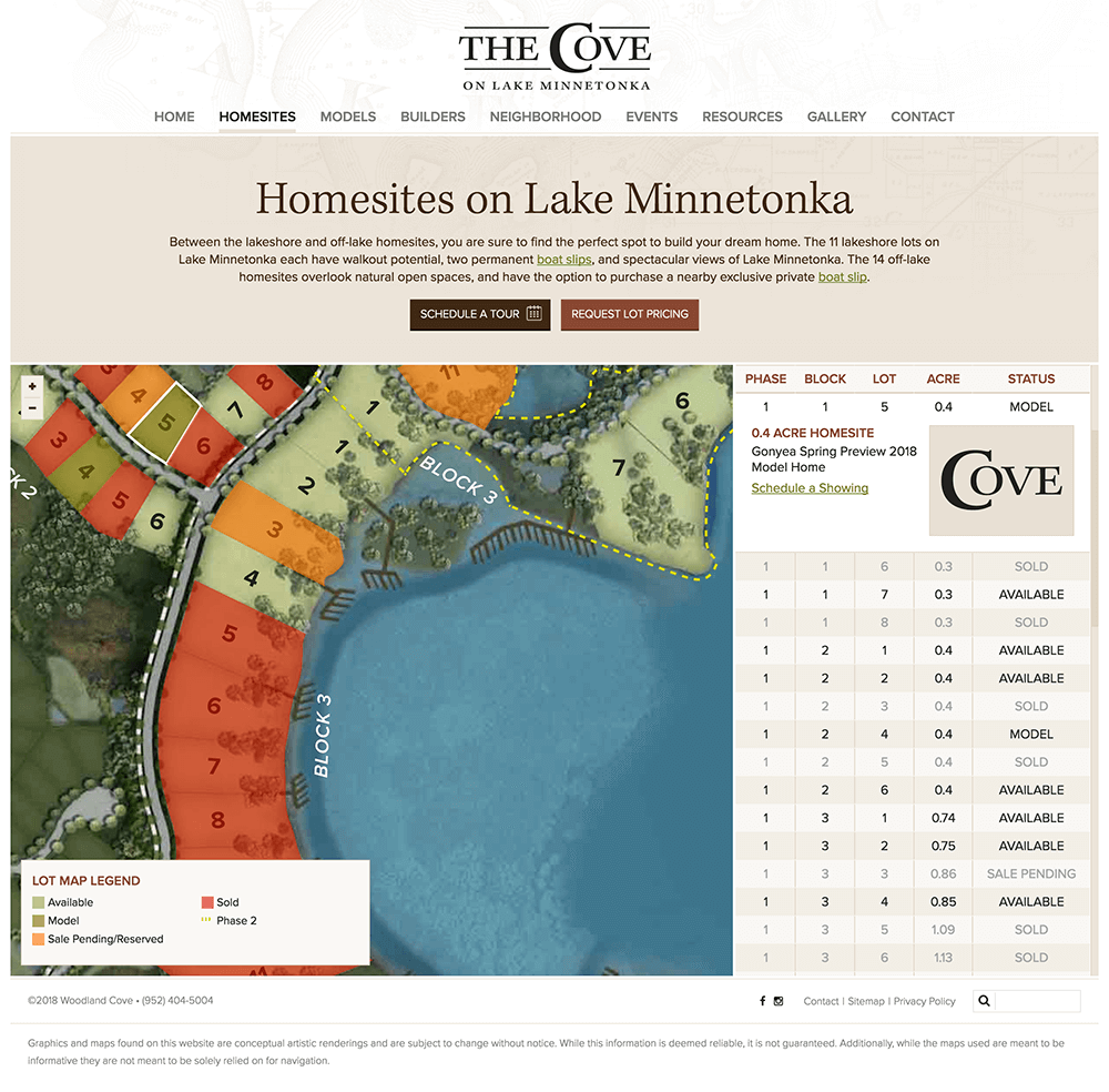 Showing interacitve design of homesites web page interface