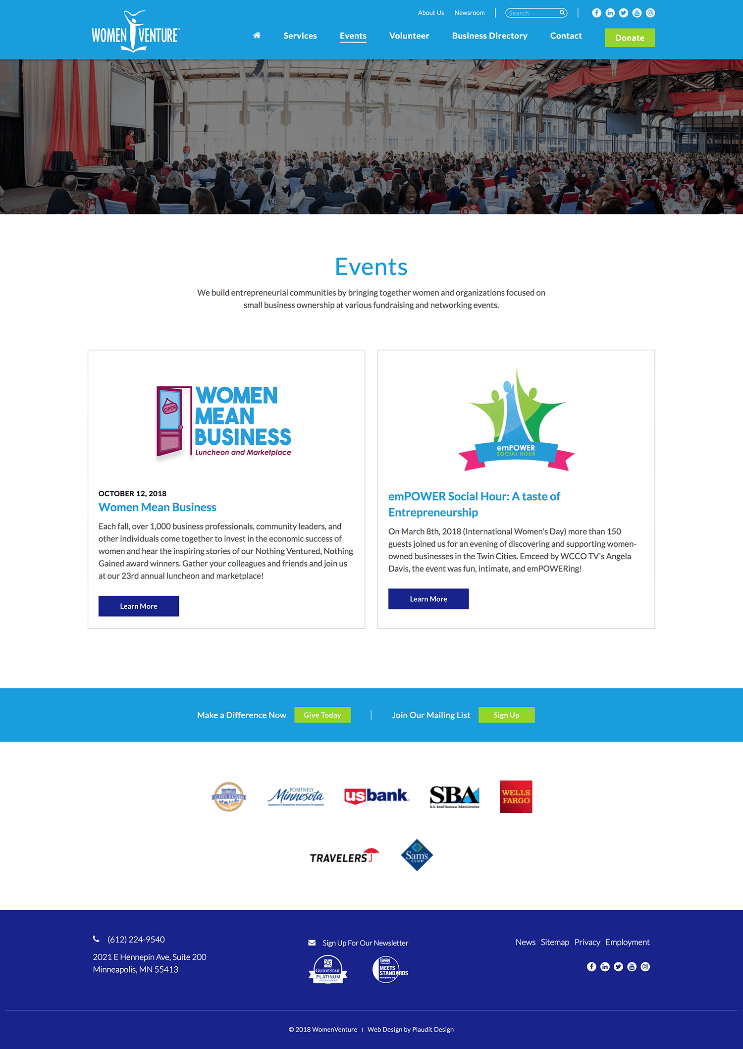 WomenVenture Web Design: Annual Events Page