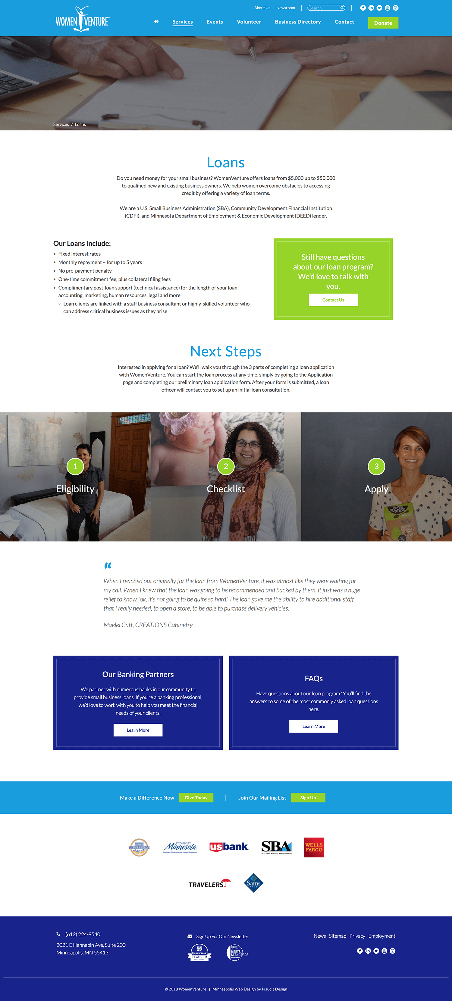 WomenVenture Web Design: Training and Education Pages