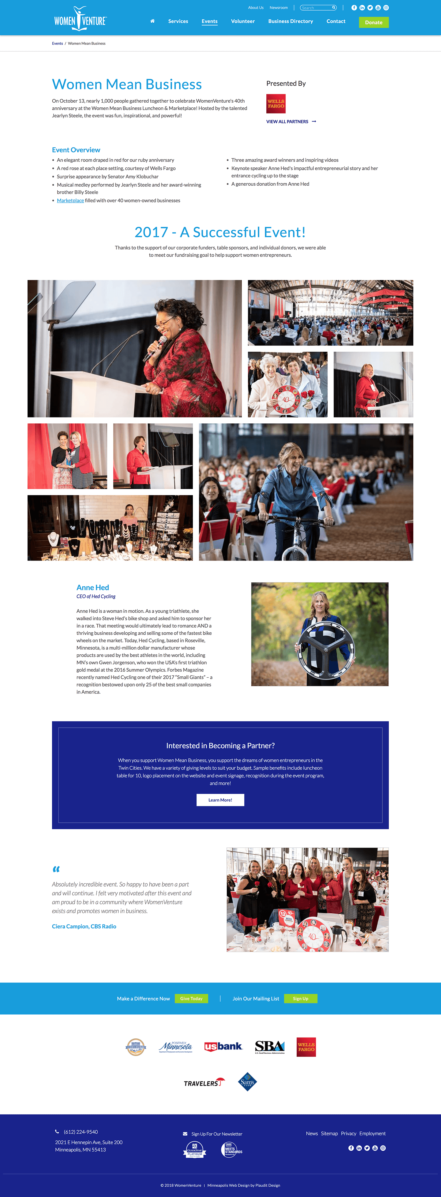 Web Design for WomenVenture: Individual Event Page