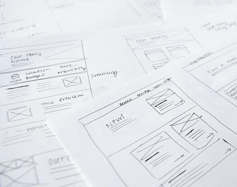 Website design wireframes